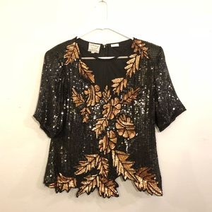 Vintage Stenay Sequin and Beaded Dress Top
